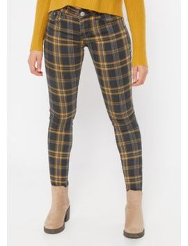 Mustard Plaid Print Mid Rise Skinny Pants by Rue21