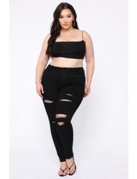 Get Curvy Distressed Skinny Jean   Black by Fashion Nova