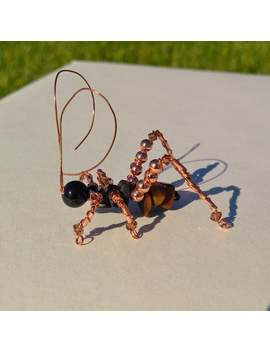 beaded-grasshopper-handmade-insect-art-cricket_grasshopper-wire-figurine-ornament by etsy