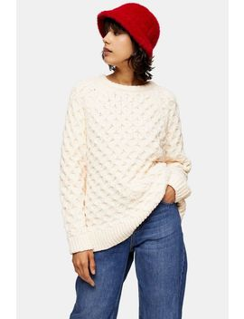 Knitted Chenille Honeycomb Jumper by Topshop