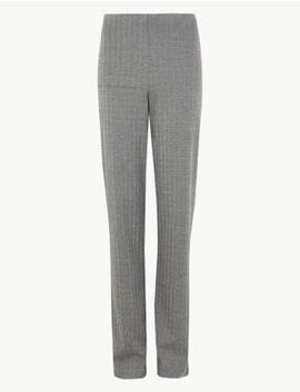 Jersey Herringbone Straight Fit Trousers by Marks & Spencer