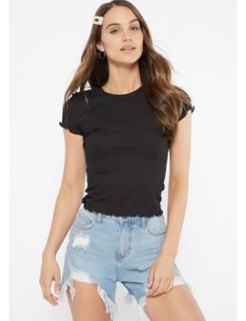 Black Lettuce Edge Ribbed Knit Tee by Rue21
