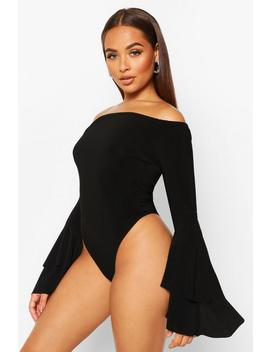 Off The Shoulder Flared Ruffle Sleeve Bodysuit by Boohoo