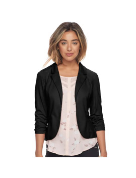 Juniors' Candie's® Ruched Lace Knit Blazer by Juniors' Candie's