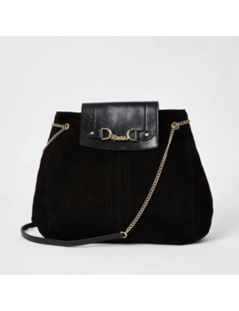 Black Leather Fold Over Chain Slouch Bag by River Island