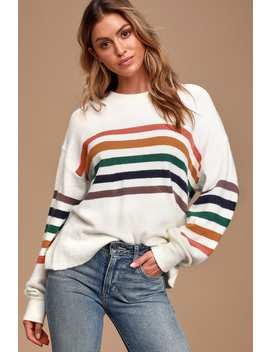 Heart To Heart Ivory Multi Striped Sweater by Lulus