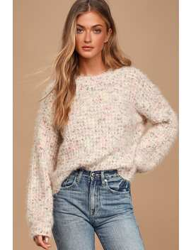 Lovely Time Blush Pink Multi Fuzzy Knit Sweater by Lush
