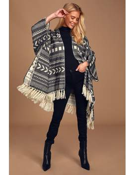 Wander And Wonder Black And White Print Poncho by Lulus