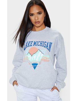 Grey Lake Michigan Slogan Sweater by Prettylittlething