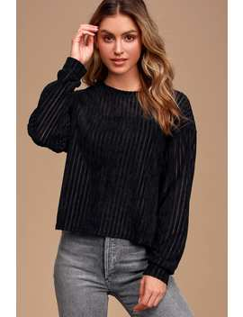 Weekend Ready Black Chenille Striped Sweater Top by Lulus