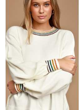 Proud Moment Ivory Multi Striped Sweater by Lulus