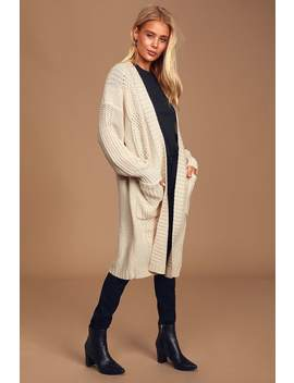 Tres Cozy Cream Chunky Cable Knit Oversized Cardigan by Lulus