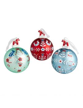 Hand Painted Glass Nordic Ball Ornaments Set Of 3 by World Market