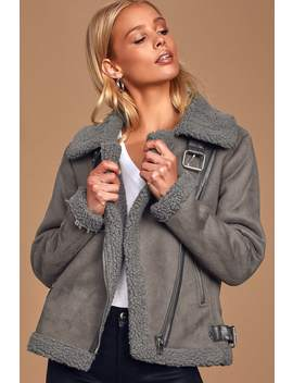 Game On Dark Grey Faux Suede Shearling Moto Jacket by Lulus