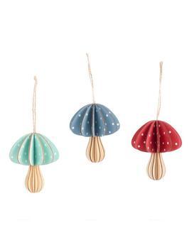 Fanned Wood Mushroom Ornaments Set Of 3 by World Market