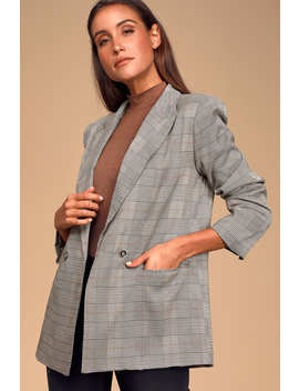 Timeless Sophistication Grey Plaid Double Breasted Blazer by Lulus