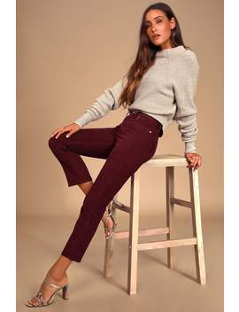 Wedgie Fit Burgundy Corduroy Straight Leg Cropped Pants by Levi's