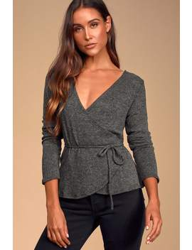 Happy Hearted Charcoal Grey Knit Wrap Sweater Top by Lulus