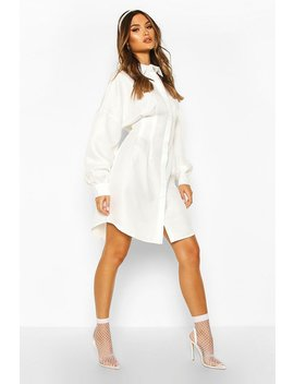 Woven Balloon Sleeve Shirt Dress by Boohoo