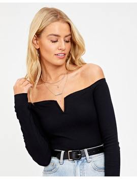 Off Shoulder Ribbed Longsleeve Top by Glassons