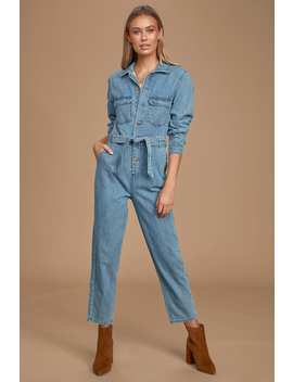 Hit My Line Medium Wash Denim Coverall Jumpsuit by Lulus