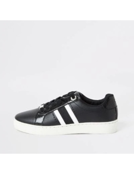 Black Side Stripe Lace Up Trainers by River Island