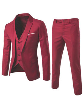 Men Slim Smart Fit 3 Pcs Suits Blazer Jacket Tux Vest Waistcoat Trouser Wedding by Ebay Seller