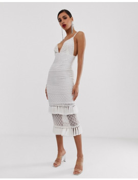 Missguided – Peace And Love – Weißes Maxikleid Mit Verziertem Saum by Asos