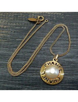 Chanel Gold Plated Cc Imitation Pearl Vintage Necklace Pendant #5035a Rise On by Ebay Seller