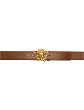 Brown Leather Palazzo Belt by Versace