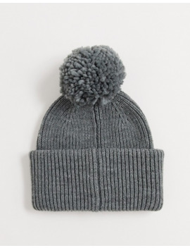 Pieces Gray Knitted Beanie With Pom Pom by Pieces