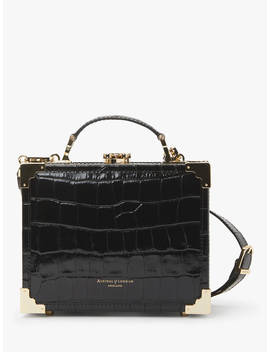 Aspinal Of London Leather Trunk Clutch Grab Bag, Black Croc by Aspinal Of London