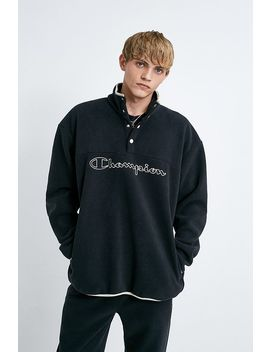 Champion Uo Exclusive Black Polar Fleece Popover Jacket by Champion