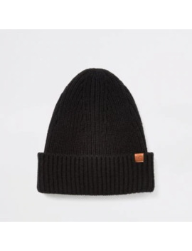 Black Fisherman Knit Beanie Hat by River Island