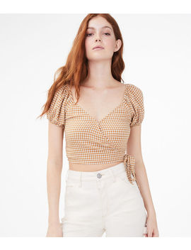 Gingham Wrap Front Crop Top by Aeropostale