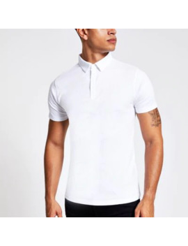 White Short Sleeve Muscle Fit Rib Polo Shirt by River Island
