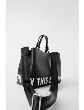 Text Print Tote Bag by Zara