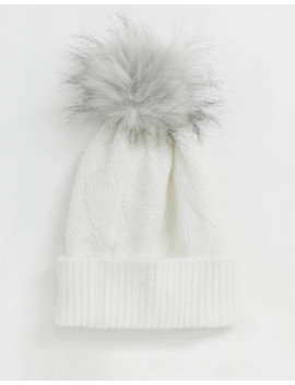 Boardman's Diamond Stitch Knitted Beanie In Winter White And Faux Fur Pom by Asos