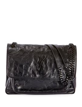 Niki Medium Ysl Monogram Crackled Calf Shoulder Bag by Saint Laurent