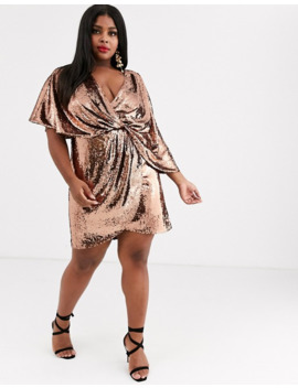 Asos Design Curve Sheet Sequin Mini Dress With Asymmetric Kimono Sleeve by Asos Design