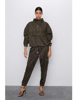 Faux Suede Hooded Jacket by Zara