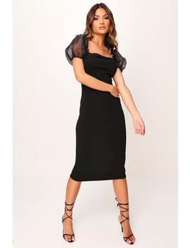 Black Puff Sleeve Organza Midi Dress by I Saw It First