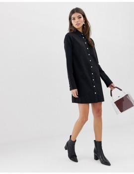 Asos Design   Robe Chemise En Jean   Noir by Asos Design