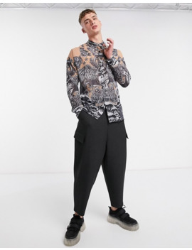 Jaded London Gothic Tattoo Sheer Long Sleeve Shirt In Grey by Jaded London