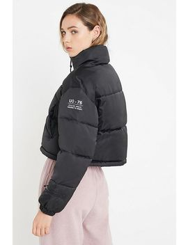 Uo Black Satin Super Crop Puffer Jacket by Urban Outfitters