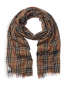 Burberry Embroidered Vintage Check Cashmere Scarf by Burberry