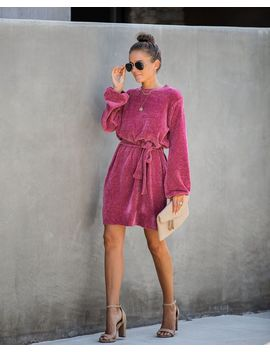 Hold Hands Chenille Sweater Dress   Dark Rose by Vici
