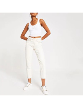 White Button Front Crop Cami Vest by River Island
