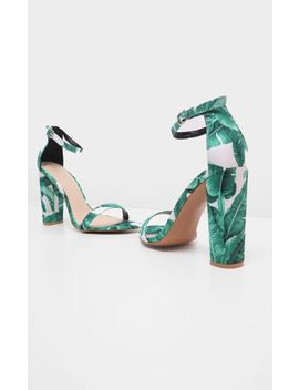 May Block Heel Leaf Print Sandal  by Prettylittlething