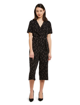 Oliver Black Short Sleeve Tie Front Jumpsuit, Black & Pink by Farmers